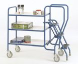 3 Step  Reversible White Tray Trolley